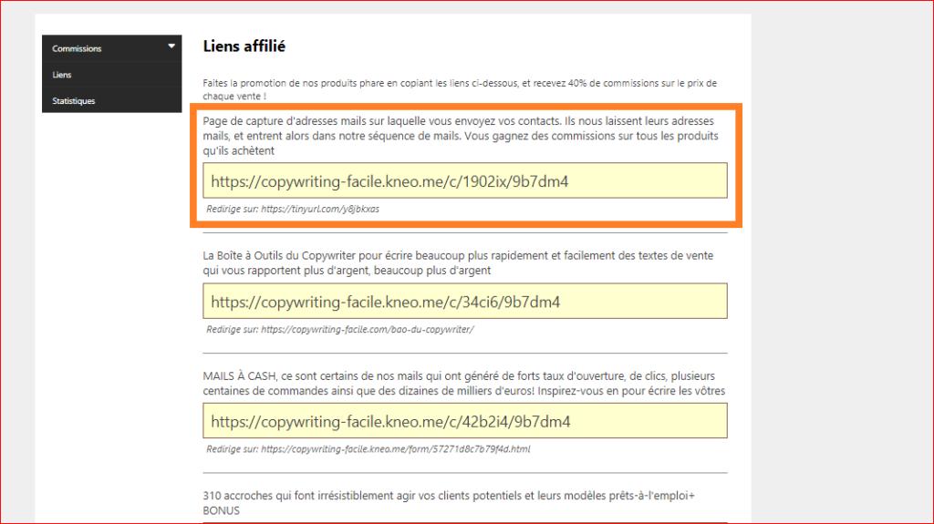 Programme d'affiliation copywriting: lien affilé
