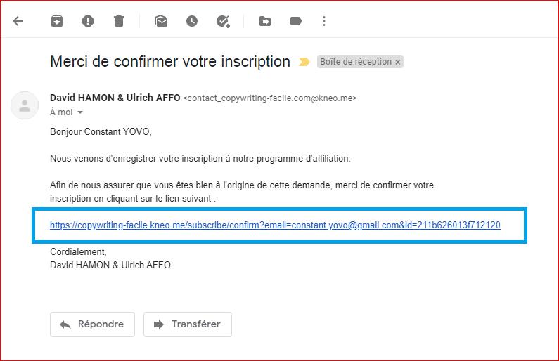 Programme d'affiliation copywriting confirmation d'inscription